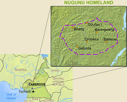 Map of Yambasa, Nu Gunu in Cameroon