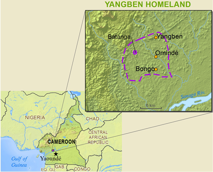 Map of Yangben in Cameroon