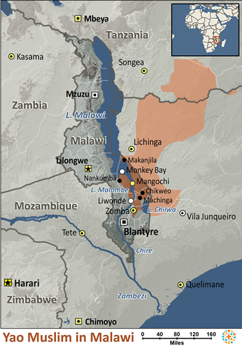 Map of Yao, Muslim in Malawi
