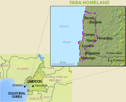 Map of Yasa in Cameroon