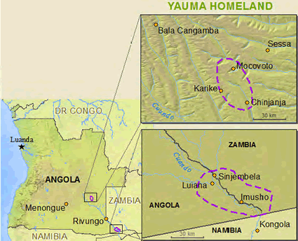 Map of Yauma in Angola