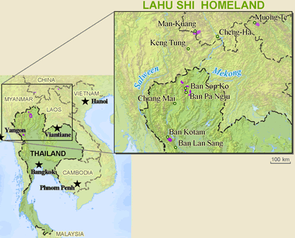 Map of Lahu Shi in Thailand