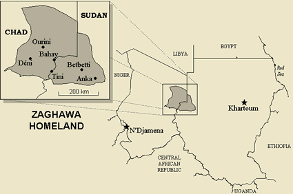 Map of Zaghawa in Chad