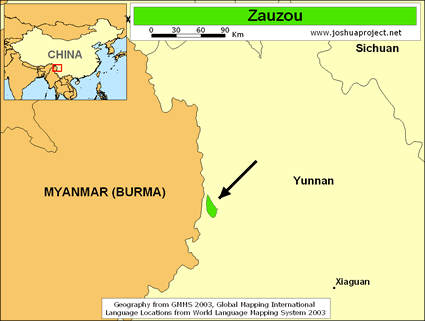Map of Zauzou in China