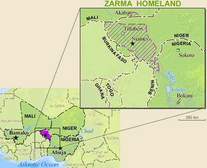 Map of Zarma in Benin