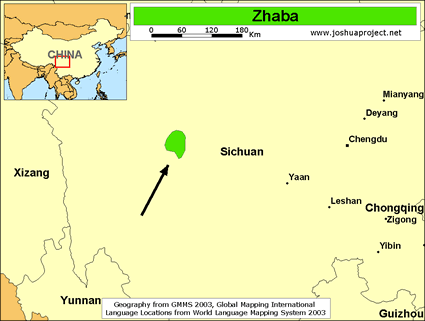 Map of Zhaba in China