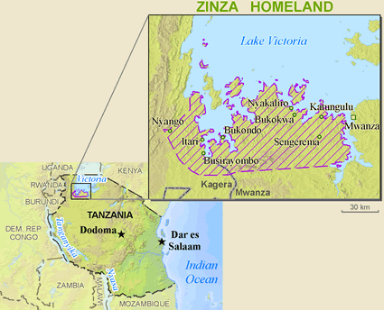 Map of Zinza in Tanzania