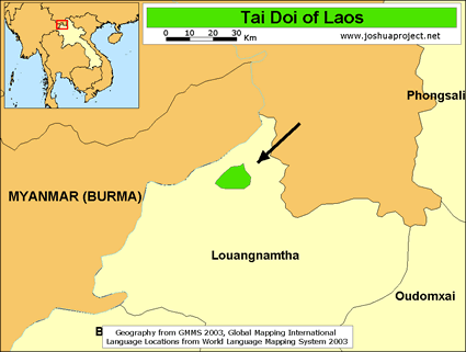 Map of Tai Doi in Laos