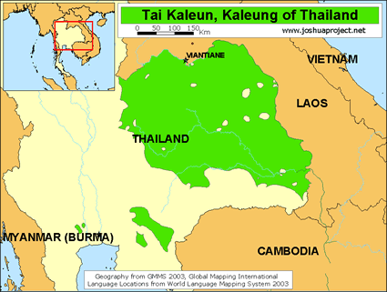 Map of Tai Kaleun in Thailand