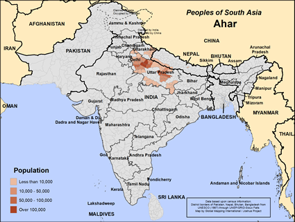 Map of Ahar in India