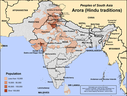 Arora, Hindu in India