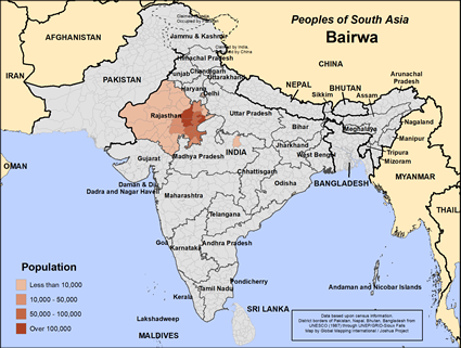 Map of Bairwa in India