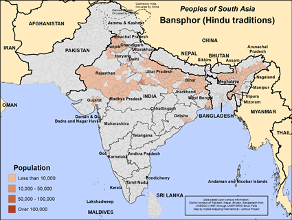 Map of Bansphor (Hindu traditions) in India