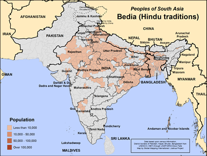 Map of Bedia (Hindu traditions) in Nepal