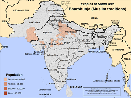 Map of Bharbhunja (Muslim traditions) in India