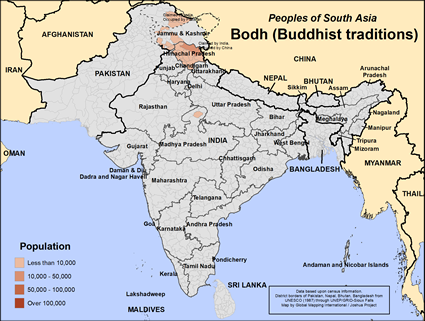 Map of Bodh (Buddhist traditions) in Pakistan