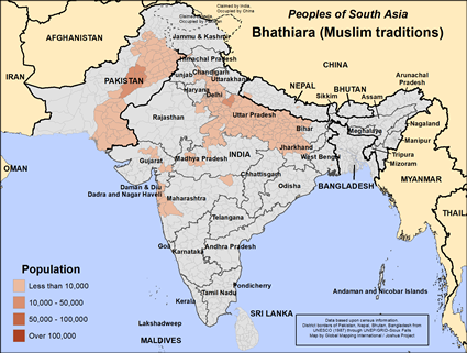 Map of Bhathiara (Muslim traditions) in Pakistan