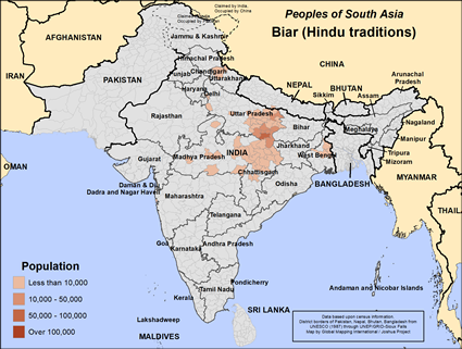 Map of Biar (Hindu traditions) in India