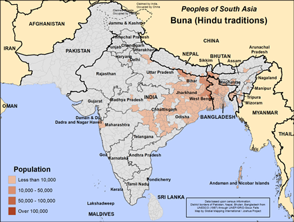 Map of Buna (Hindu traditions) in Bangladesh