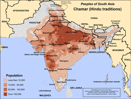 Map of Chamar (Hindu traditions) in Nepal