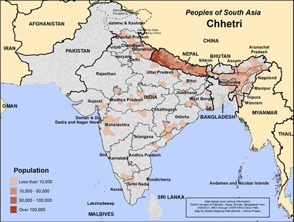 Map of Chhetri in India