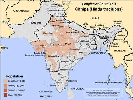 Map of Chhipa (Hindu traditions) in India