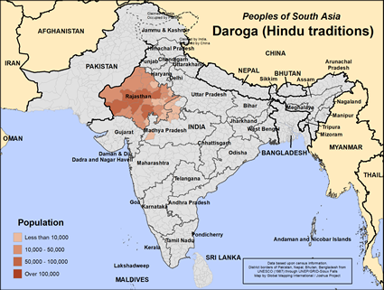 Map of Daroga (Hindu traditions) in India