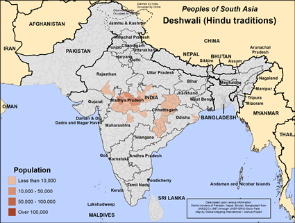 Map of Deshwali (Hindu traditions) in India
