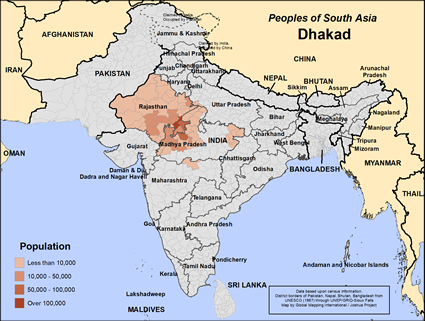 Map of Dhakad in India