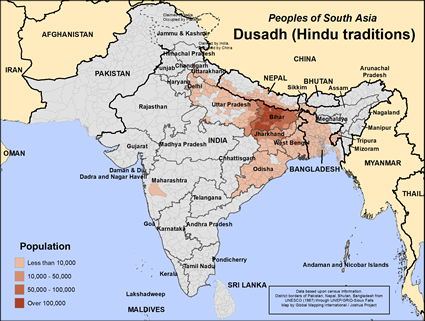 Map of Dusadh (Hindu traditions) in Nepal