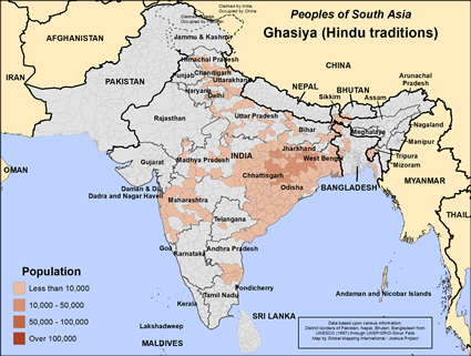 Map of Ghasiya (Hindu traditions) in India