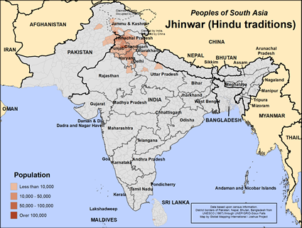 Map of Jhinwar (Hindu traditions) in India