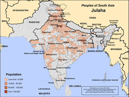 Map of Julaha in India