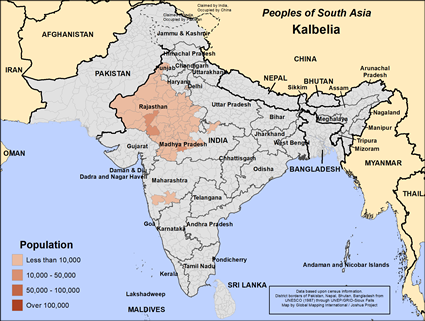 Map of Kalbelia in India