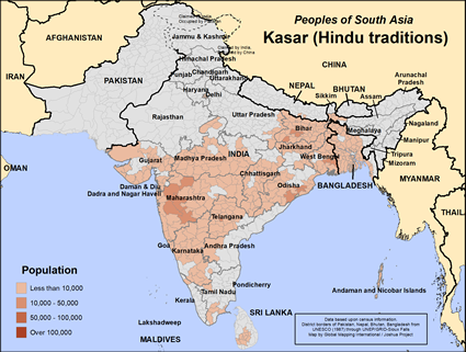 Map of Kasar (Hindu traditions) in Bangladesh