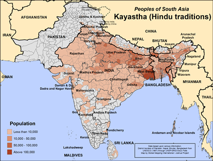 Map of Kayastha (Hindu traditions) in Bangladesh