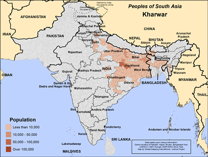 Map of Kharwar in India
