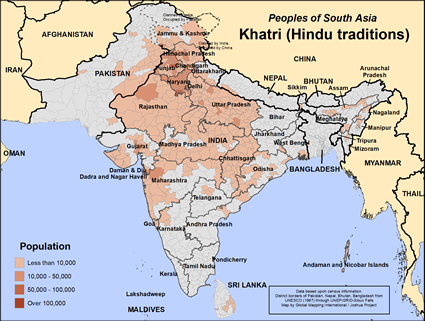Map of Khatri (Hindu traditions) in India