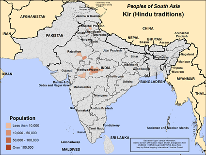 Map of Kir (Hindu traditions) in India