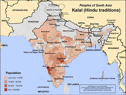Map of Kalal (Hindu traditions) in Bangladesh