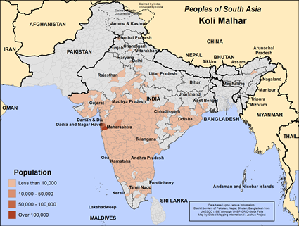Map of Koli Malhar in India