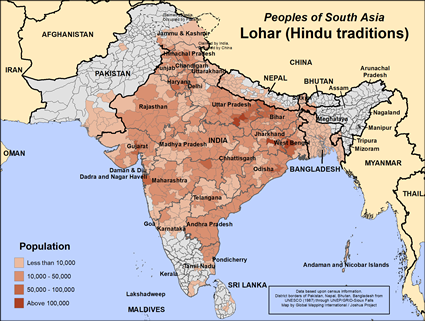 Map of Lohar (Hindu traditions) in Pakistan