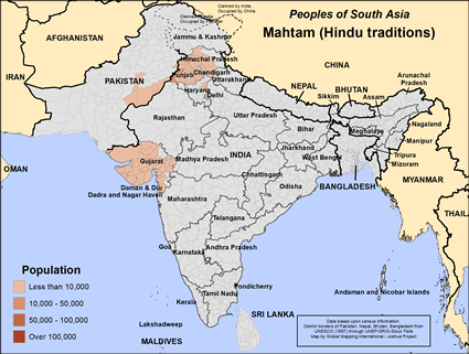 Map of Mahtam (Hindu traditions) in India