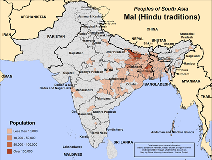 Map of Mal (Hindu traditions) in Nepal