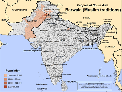 Map of Barwala (Muslim traditions) in India