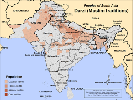 Map of Darzi (Muslim traditions) in Pakistan