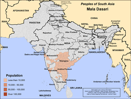 Map of Mala Dasari in India