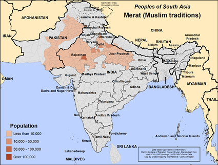 Map of Merat (Muslim traditions) in India