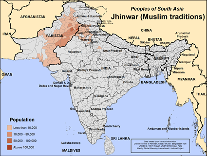 Map of Jhinwar (Muslim traditions) in India