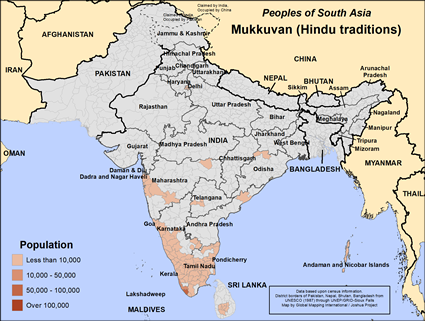 Map of Mukkuvan (Hindu traditions) in India